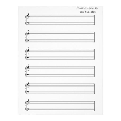 Blank Sheet Music Piano 6 Stave Letterhead   Zazzle