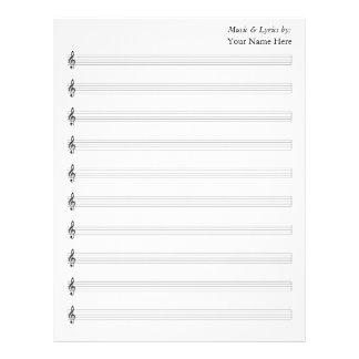 Blank Sheet Music  Treble 10 Staves Letterhead