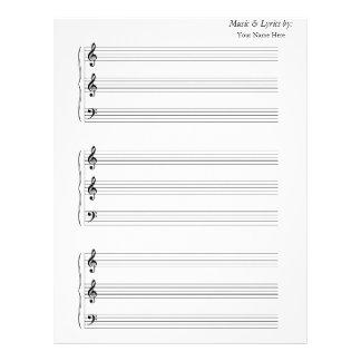 Blank Sheet Music Trumpet Trombone 2 G's 1 F with