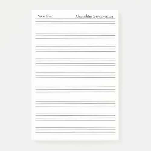 Blank Staff Music Note Paper Custom Name Option
