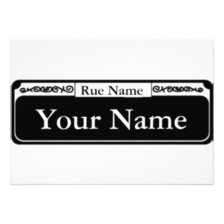 Blank Street Sign Your Name Rue Name Personalized Invitation