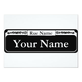 Blank Street Sign, Your Name, Rue Name Personalized Invitation