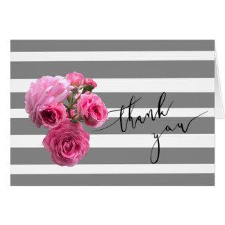 Blank Summer Romance Rose Thank You card