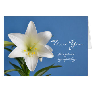 Blank Sympathy Thank You Note Card, Easter Lily Stationery Note Card