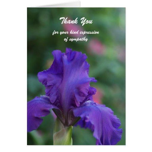 Blank Sympathy Thank You Note Card -- Iris