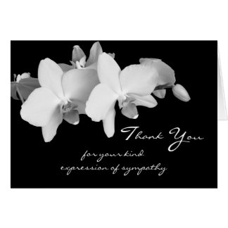 Blank Sympathy Thank You Note Card -- Orchids