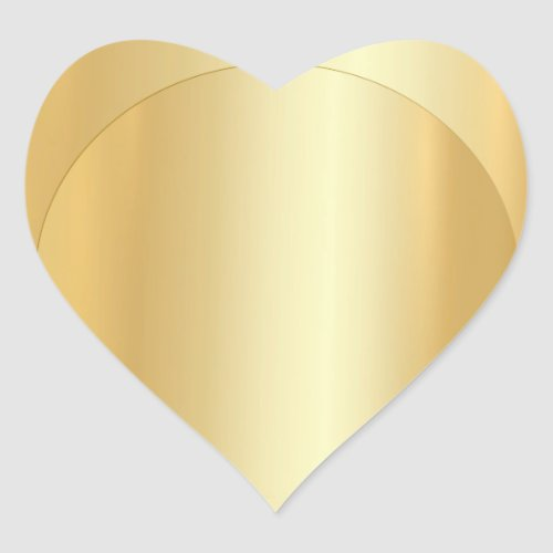 Blank Template Elegant Add Your Text Faux Gold Heart Sticker
