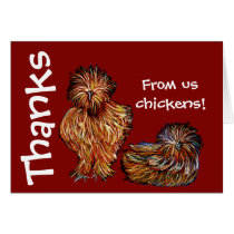 "Blank Thank You card red ""us chickens"""