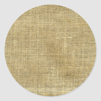 Blank Vintage Beige Burlap Inspired Classic Round Sticker