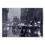 Blank: vintage New York on a rainy night Greeting Cards