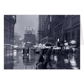 Blank: vintage New York on a rainy night Greeting Cards