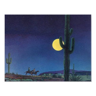Blank West Southwest Saguaro Cactus Moonlight Ride Card