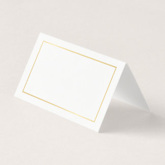 Blank White and Gold Elegant Wedding Place Card