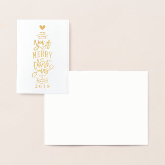 Blank wish you merry christmas foil greeting card