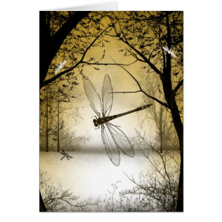 Blank Woodland Dragonfly Greeting Card