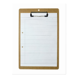 Blank writing paper on clipboard post card
