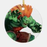 Blanka con las manos aumentadas adorno navideño redondo de cerámica
