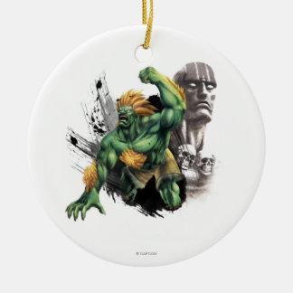 Blanka Vs. Dhalsim Double-Sided Ceramic Round Christmas Ornament