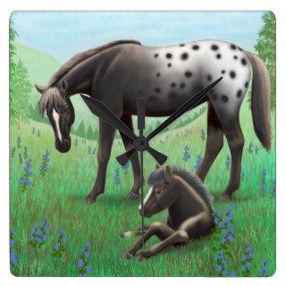 Blanket Appaloosa Mare and Foal Wall Clock