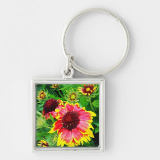 Blanket Flower Silver-Colored Square Keychain