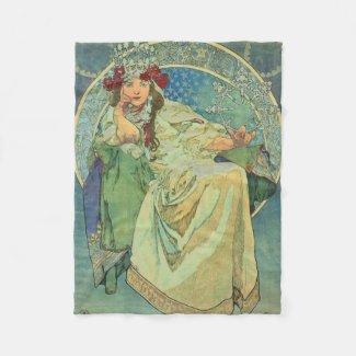 Blanket Mucha Alfons Princezna Hyacinta 1911 Fleece Blanket