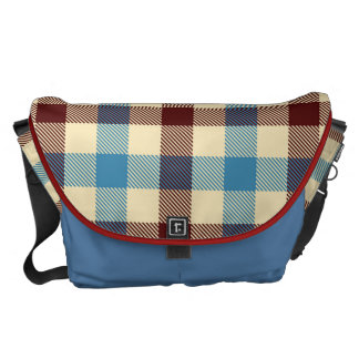 Blanket Plaid in Red, Blue and Cream Messenger Bag