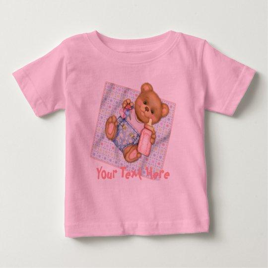 Blanket Teddy Bear Baby Pink -  Customize Baby T-Shirt