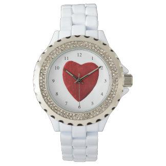 Blanquea damas reloj de pulsera con corazón