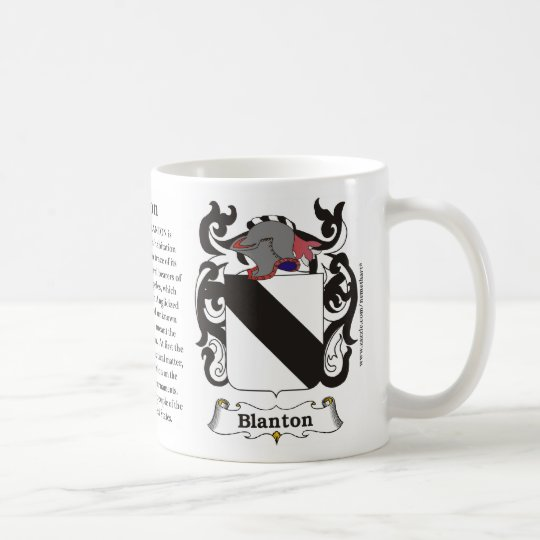 Blanton, Origin, Meaning and the Crest Coffee Mug