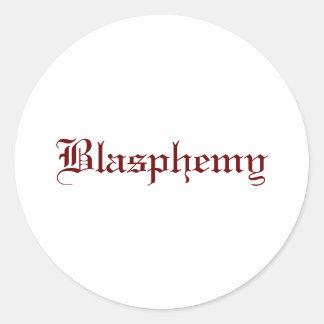 Blasfemia (roja) pegatina redonda