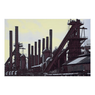 BLAST FURNACES STEEL MILL POSTER