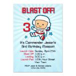 Blast Off 3rd Birthday Invitation