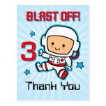 Blast Off 3rd Birthday Postcard