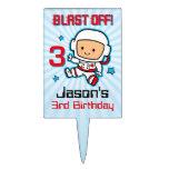 Blast Off 3rd Birthday Rectangular Cake Picks
