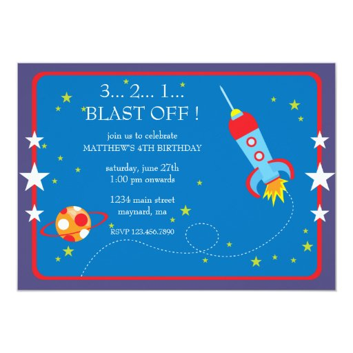 Blast Off Birthday Invitation