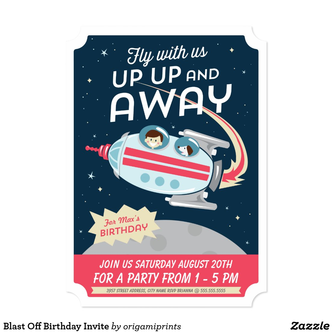 Blast Off Birthday Invite