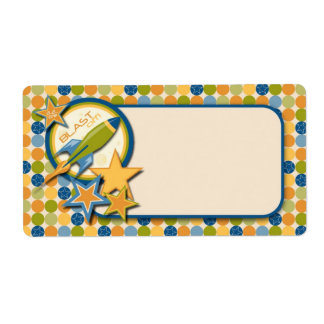 Blast Off! Name Tag Personalized Shipping Label