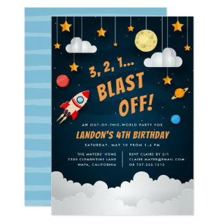 Blast Off | Outer Space Birthday Party Invitation