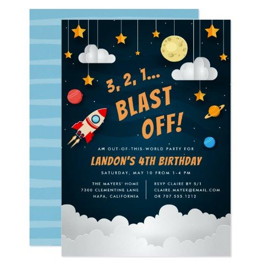 Blast Off Outer Space Birthday Party Invitation Zazzlecom