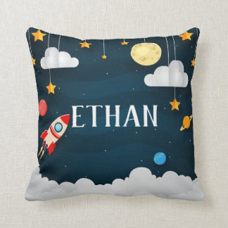 Blast Off | Personalized Outer Space Throw Pillow
