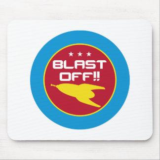 Blast Off!! Retro Science Fiction Space Rocket Mouse Pad
