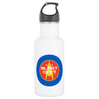Blast Off!! Retro Science Fiction Space Rocket Stainless Steel Water Bottle