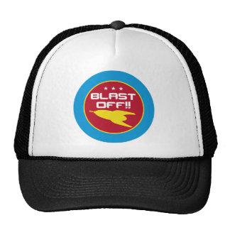 Blast Off!! Retro Science Fiction Space Rocket Trucker Hat