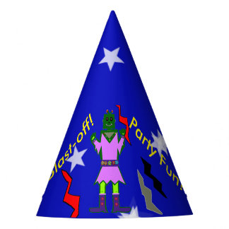 Blast Off Robot Girl Stars Party Hats