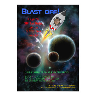 "Blast Off! Rocket Birthday Invitation 5"" X 7"" Invitation Card"