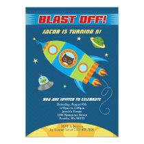 Blast Off Rocket Owl Birthday Invitation