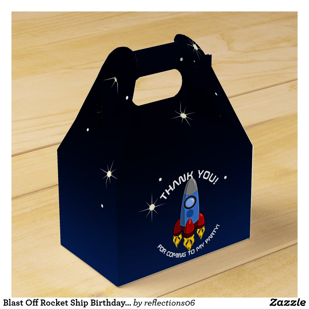 Blast Off Rocket Ship Birthday Party Favor Box