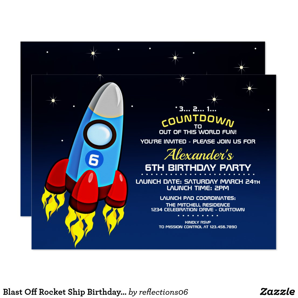 Blast Off Rocket Ship Birthday Party Invitation