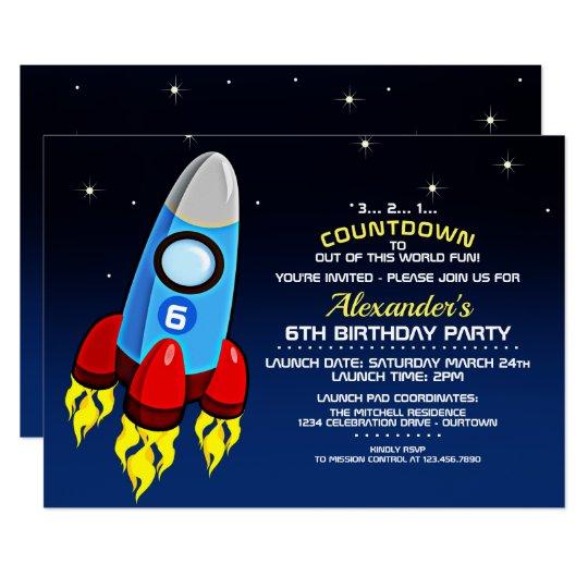 Blast off rocket ship birthday party invitation zazzle blast off rocket ship birthday party invitation filmwisefo