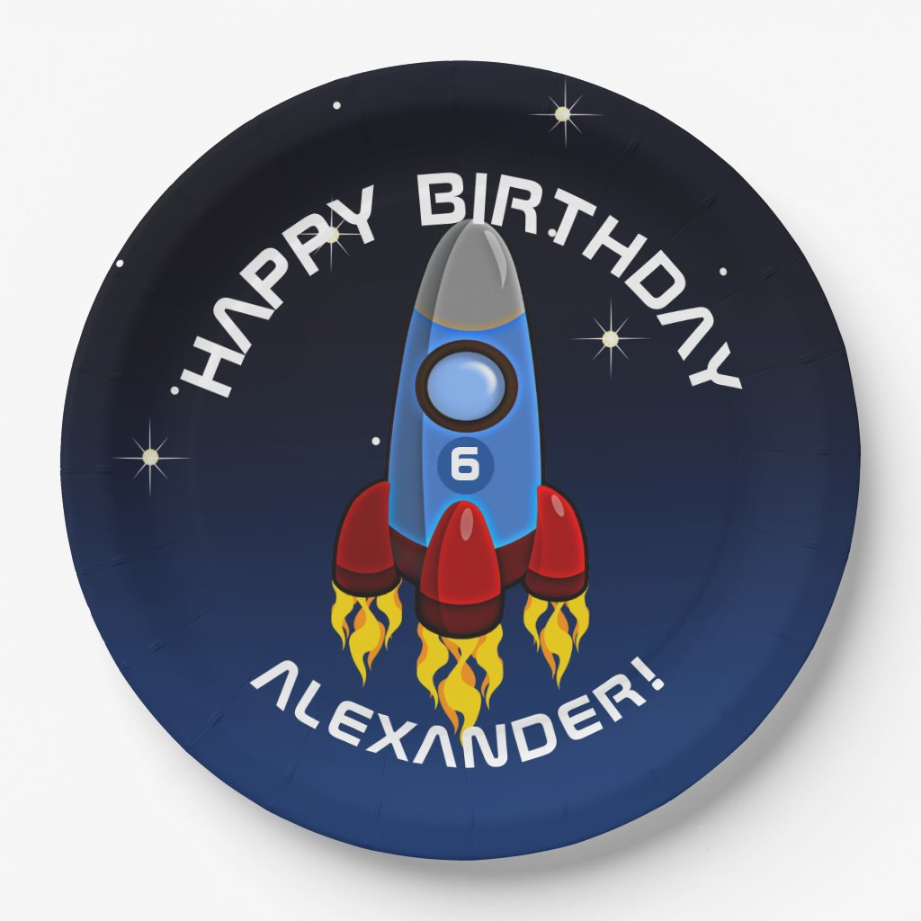Blast Off Rocket Ship Birthday Party Paper Plate